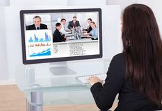 Businesswoman having video conference Stock Photos