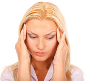 Businesswoman with headache Royalty Free Stock Images