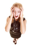 Businesswoman with headache head pain screaming Stock Image