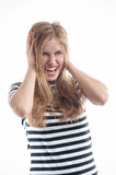Businesswoman with headache head pain screaming. Businesswoman with head pain screaming. Frustrated blonde girl with headache shouting isolated on white. Stress Royalty Free Stock Photos