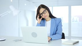 Businesswoman with Headache, Tension and Stress. 4k , high quality Stock Photo