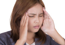 Businesswoman in headaches. Stock Photo