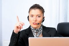 Businesswoman headphones Stock Photography
