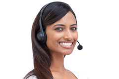 Businesswoman with a headset on Royalty Free Stock Photos