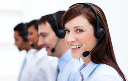 Businesswoman with headset on Stock Photos