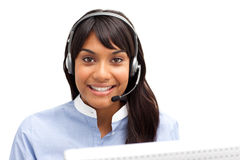 Businesswoman with headset on stock image