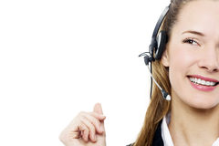 Businesswoman with headset on Stock Photography