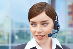 Businesswoman with headset. Stock Photos