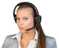 Businesswoman in headset Stock Images
