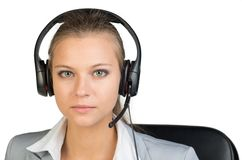 Businesswoman in headset Royalty Free Stock Photos