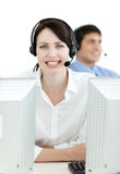 Businesswoman with headset on working Stock Photos