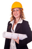Businesswoman with helmet Stock Images