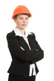 Businesswoman in a helmet. Stock Photos
