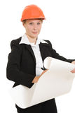 Businesswoman in a helmet. Royalty Free Stock Photo