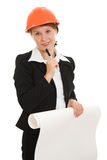 Businesswoman in a helmet Royalty Free Stock Photo