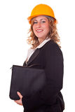 Businesswoman with helmet and briefcase Royalty Free Stock Photography