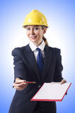 Businesswoman with helmet Royalty Free Stock Photos
