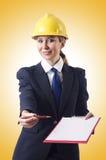 Businesswoman with helmet Royalty Free Stock Photo