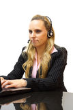 Businesswoman is helping customers in call center Stock Photos
