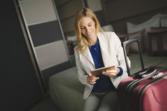Businesswoman on her business trip. Traveling to destination Royalty Free Stock Photography