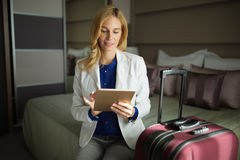 Businesswoman on her business trip. Traveling to destination Royalty Free Stock Photos