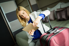 Businesswoman on her business trip Royalty Free Stock Photos