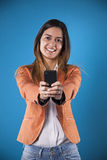 Businesswoman with her cellphone Royalty Free Stock Image