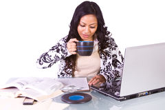 Businesswoman at Her Desk Working Stock Images