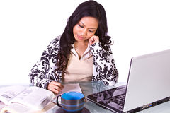 Businesswoman at Her Desk Working Royalty Free Stock Photography