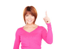 Businesswoman with her finger up Stock Photography