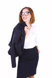 Businesswoman with her jacket Stock Photo