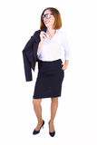 Businesswoman with her jacket Stock Photography