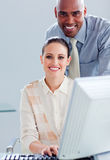 A businesswoman and her manager working together Stock Image