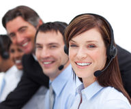 Businesswoman and her team in a call cente Stock Images