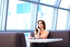 Businesswoman in her thirties talking Stock Image