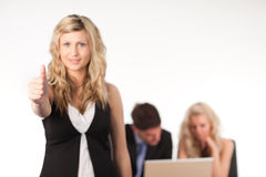 Businesswoman with her thumb up to camera. Leading a team 1 Stock Photos