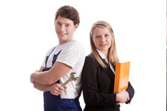 Businesswoman  with her worker Stock Photos