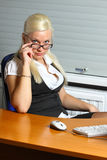 Businesswoman at her working place Stock Images