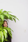Businesswoman hiding behind office plant Stock Photography
