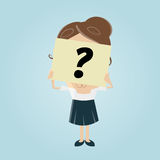 Businesswoman hiding her face behind a question mark note Royalty Free Stock Photo
