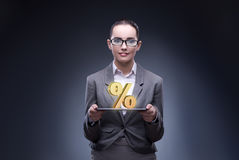 The businesswoman in high interest rates concept royalty free stock images