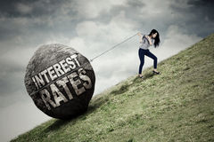 Businesswoman with higher interest rates stock photo