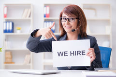The businesswoman hiring new employees in office Stock Photos