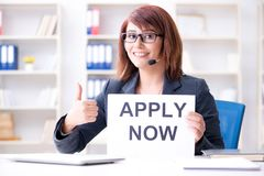 The businesswoman hiring new employees in office. Businesswoman hiring new employees in office Royalty Free Stock Image