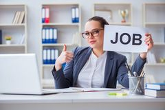 The businesswoman hiring new employees in office. Businesswoman hiring new employees in office Royalty Free Stock Photo