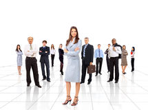 Businesswoman and his team isolated. Over a white background stock photography