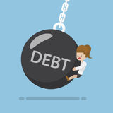 Businesswoman is Hit by Debt Wrecking Ball Stock Photo