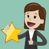 Businesswoman hold a big gold star. Victory, rating. Business and finance. Flat style vector illustration clipart royalty free illustration