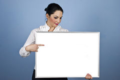 Businesswoman hold a blank banner Royalty Free Stock Photo