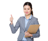 Businesswoman hold with clipboard Stock Photos